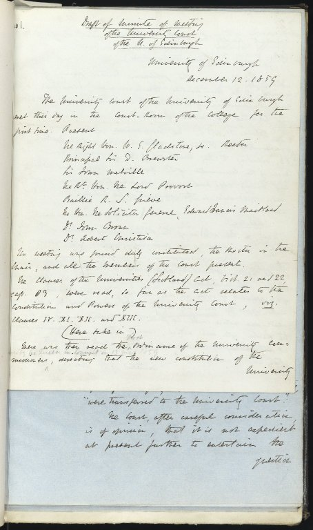 First page of first volume of University Court minutes (draft)