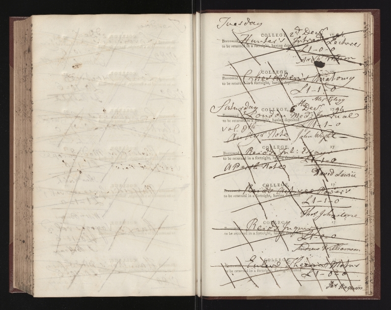 Receipt Book containing student borrowings - page uncounted