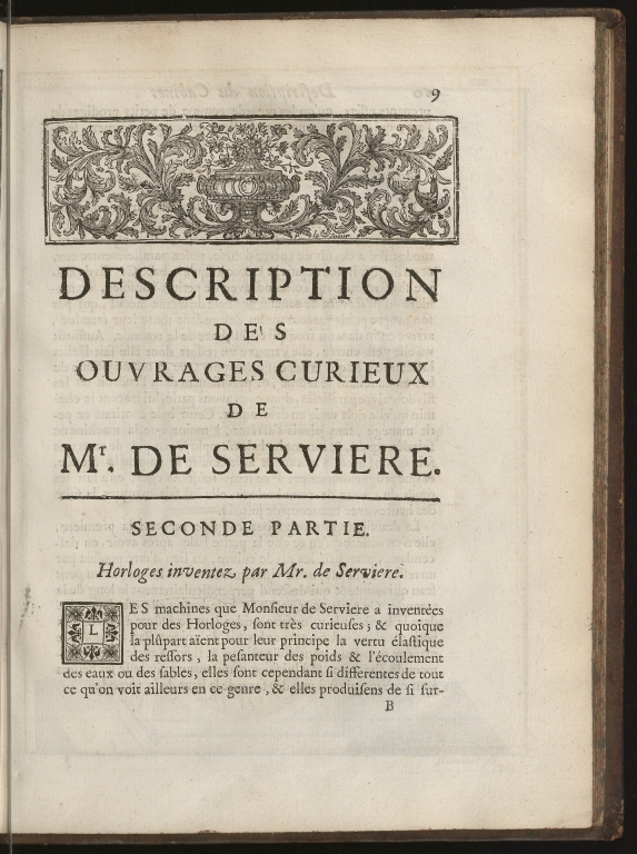 Recueil d'ouvrages curieux de mathematique et de mechanique, ou description du cabinet de Monsieur Grollier de Serviere, p.9