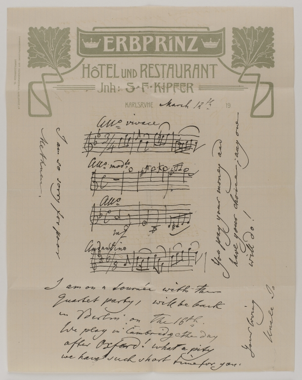 Letter from Joseph Joachim to his nephew Harold H. Joachim