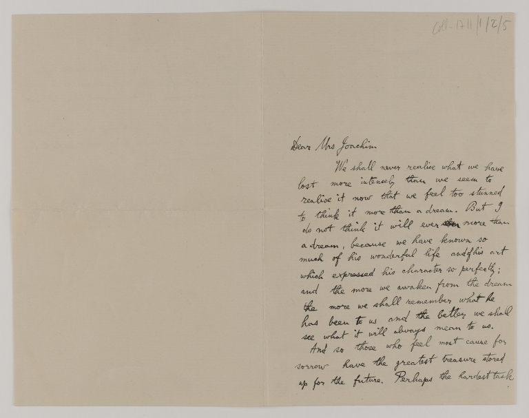 Letter to 'Mrs Joachim' from Donald Francis Tovey on the subject of Joseph Joachim's death