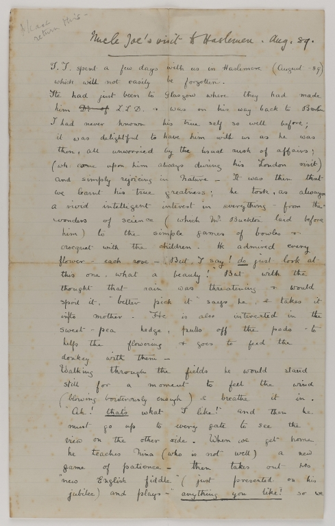 Letter from Gertrude Joachim recounting a visit by Joseph Joachim to family at Heslemere