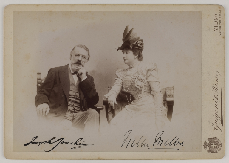 Signed image mounted on card of Joseph Joachim and Nellie Melba, taken by Guigoni & Bossi, Milan