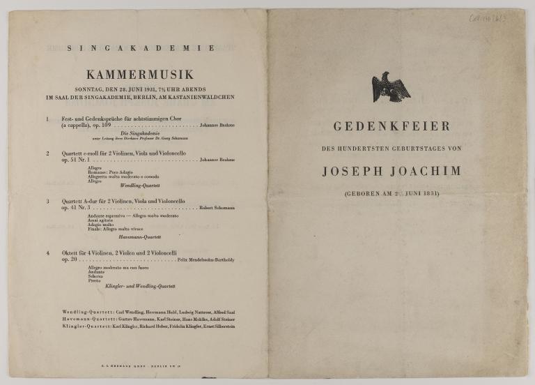 Program from the 1931 commemorative centenary concert for Joseph Joachim in Berlin