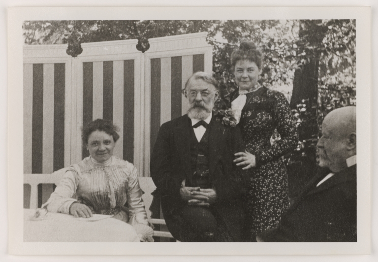 Image of Joseph Joachim outdoors with two women