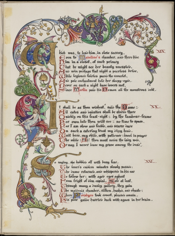 Illuminated manuscript by Charles Oppenheimer of 'The Eve of Saint Agnes' by John Keats (selected page)