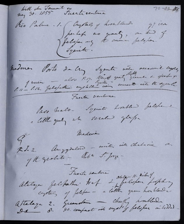 Notes on the Canary Isles and Madeira with Pieter Hartung, May - June 1855, f.70r