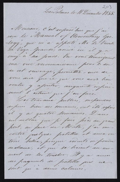 Letter to Sir Charles Lyell from Pedro Maffiote, 11 December 1855, f.203r