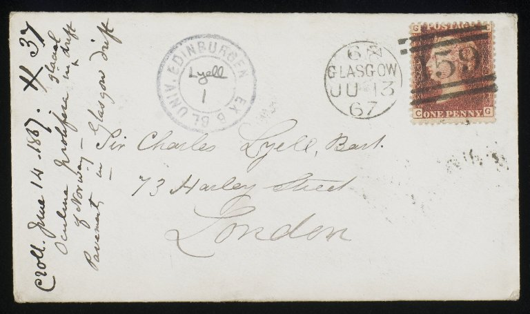 Correspondence of Sir Charles Lyell, Ca-De, 1803-1874 / James Croll, 13 Jun 1867, Envelope recto