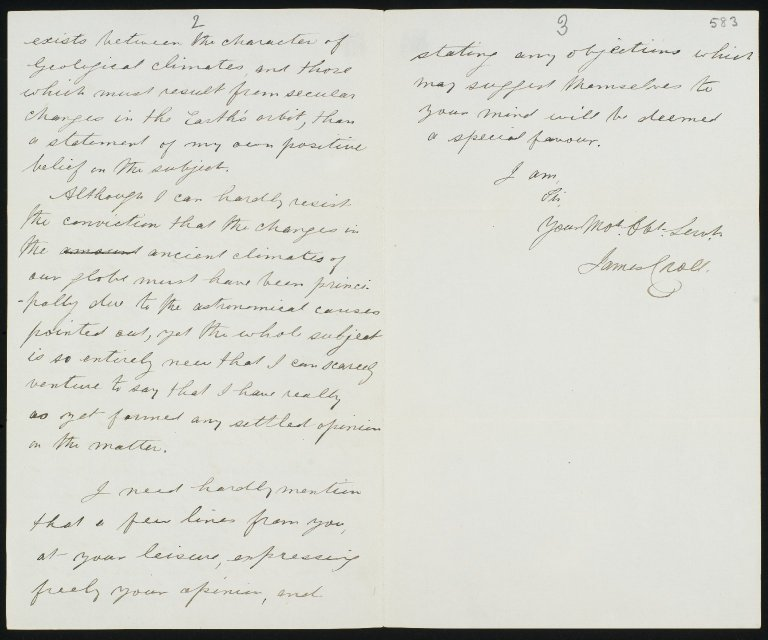 Letter to Sir Charles Lyell from James Croll, 6 April 1865, ff.582v-583r