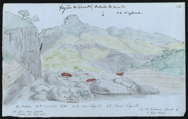 Sketch of the geological formations of the Fajaa do Taboado and the Achada do Mundo, 1850s, f.58r