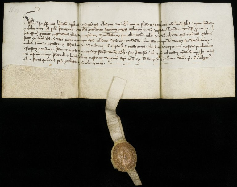 Letter of Margaret, daughter of Guy, Count of Flanders, confirming prior letters of her father to Sir Thibault of Mauritania