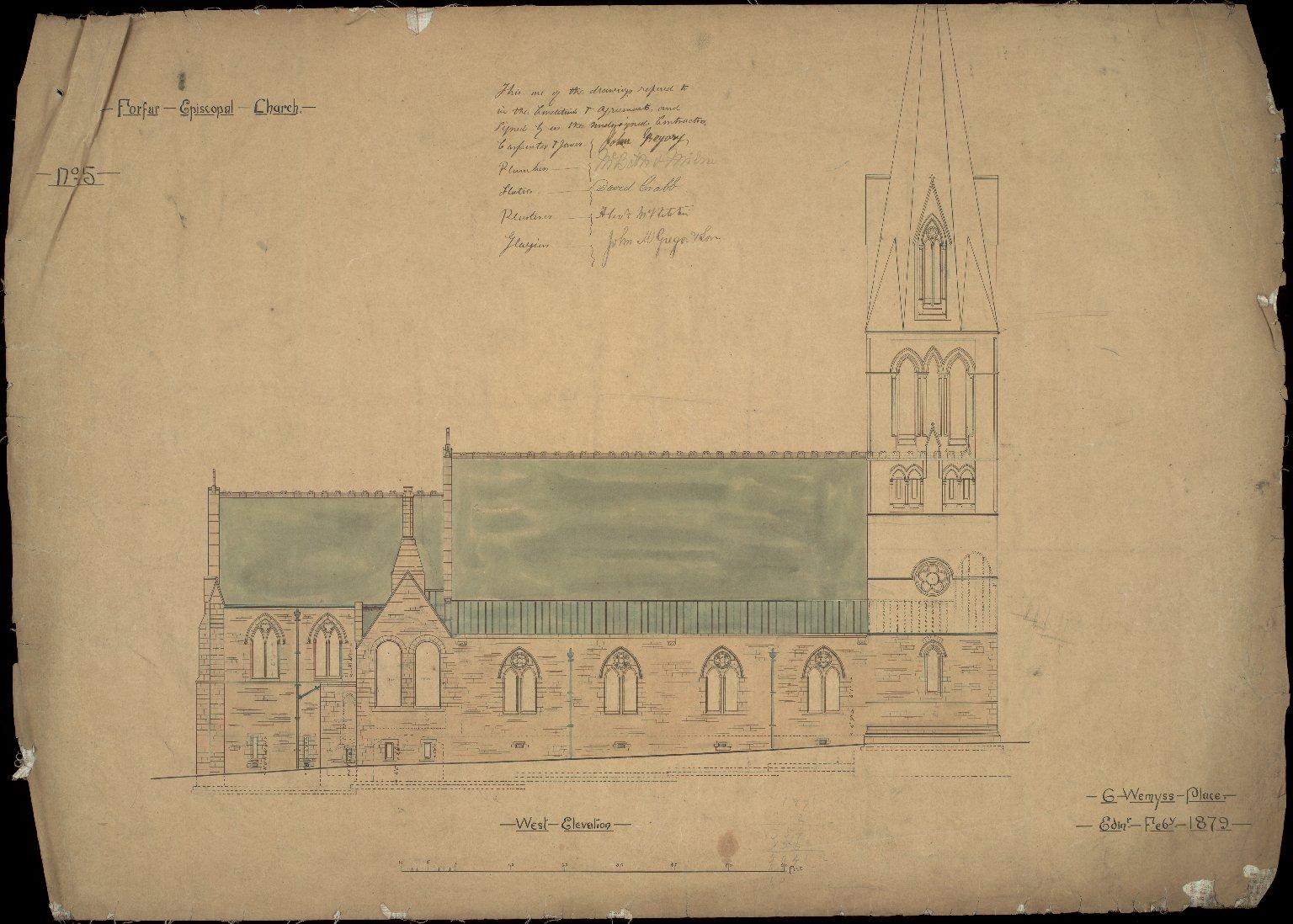 Forfar Episcopal Church, West Elevation, No.5