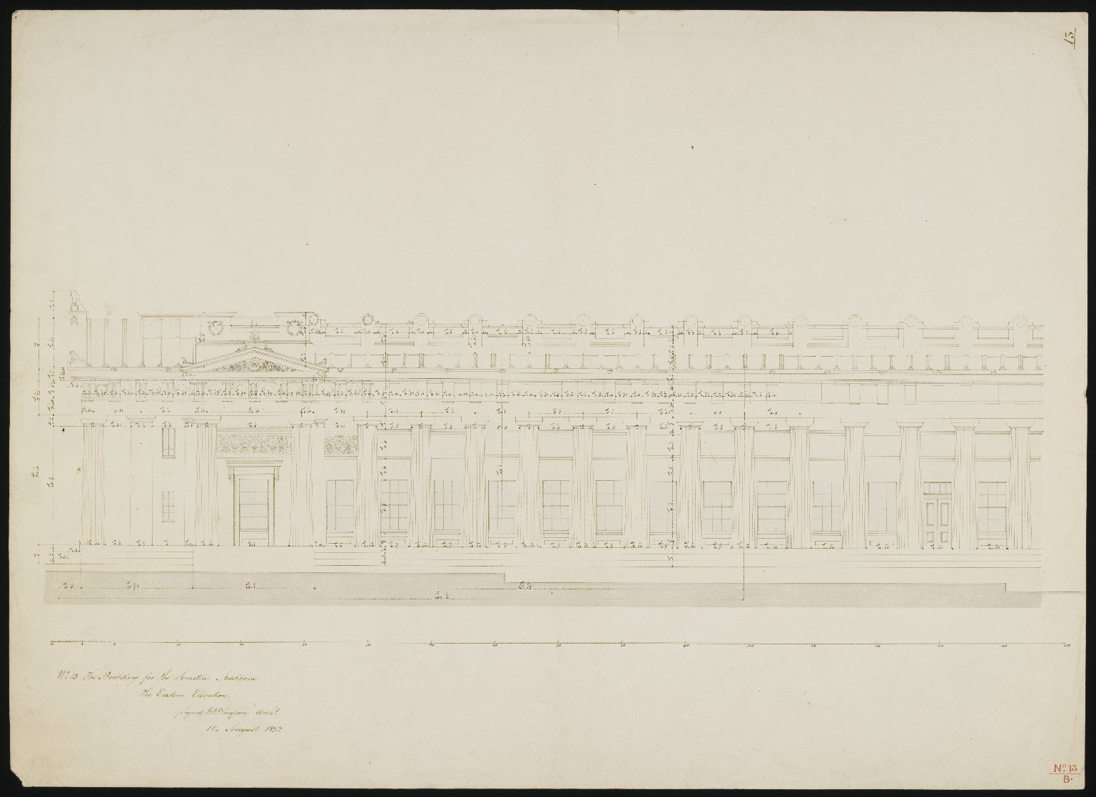 The Building for the Societies, the Eastern Elevation, 1832, No.13/B