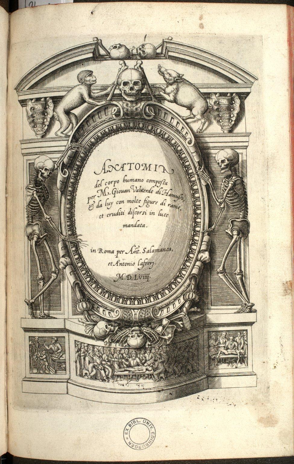 [Title Page of the Anatomia del Corpo Humano]