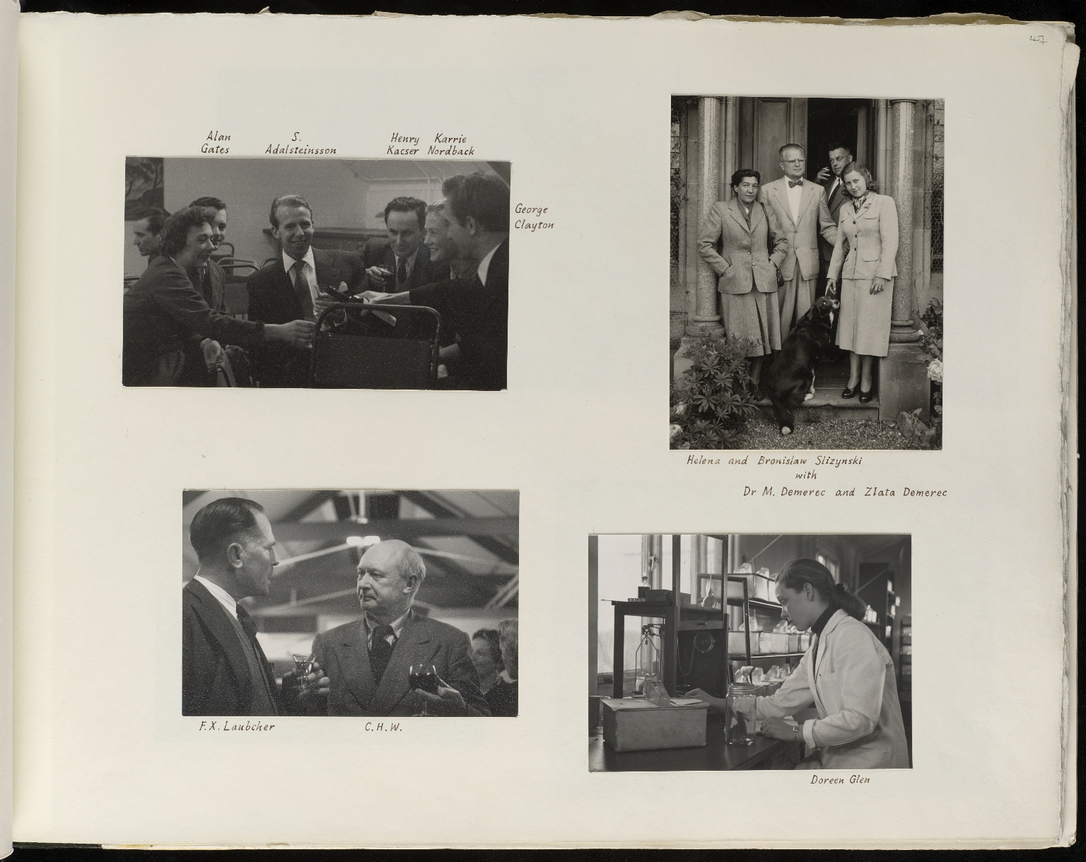 Photograph album presented to Waddington by Institute of Animal Genetics staff on his 50th birthday, p.47
