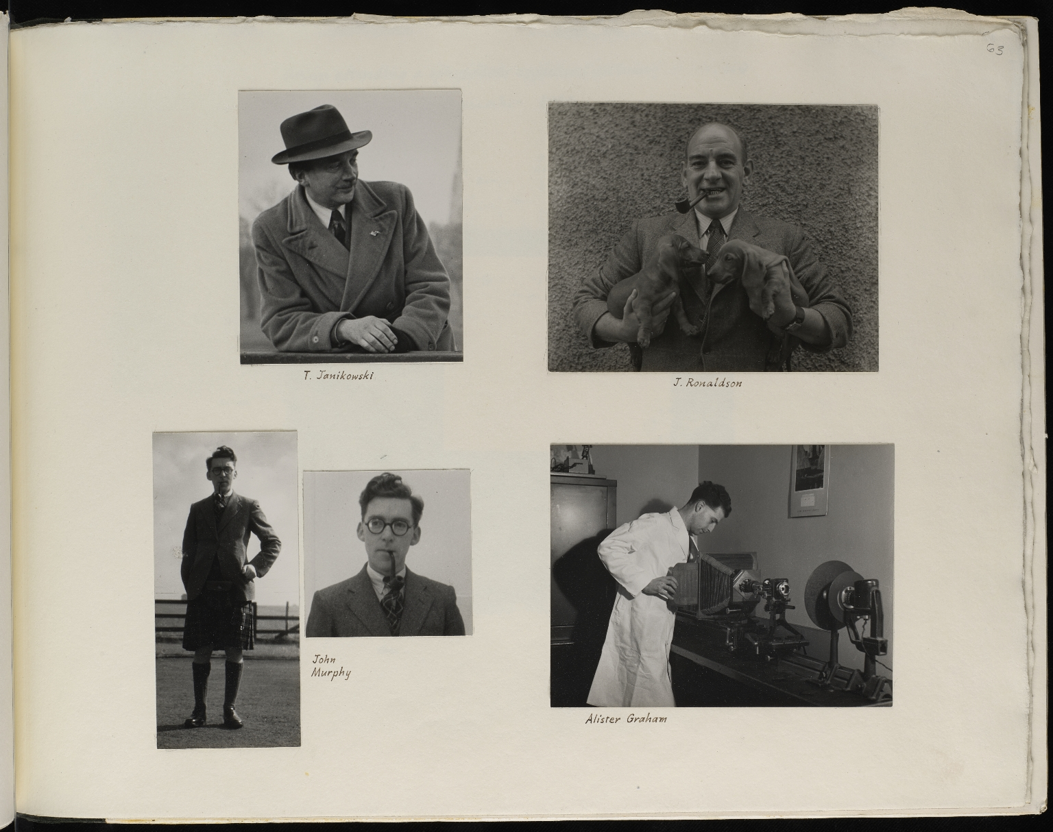 Photograph album presented to Waddington by Institute of Animal Genetics staff on his 50th birthday, p.63