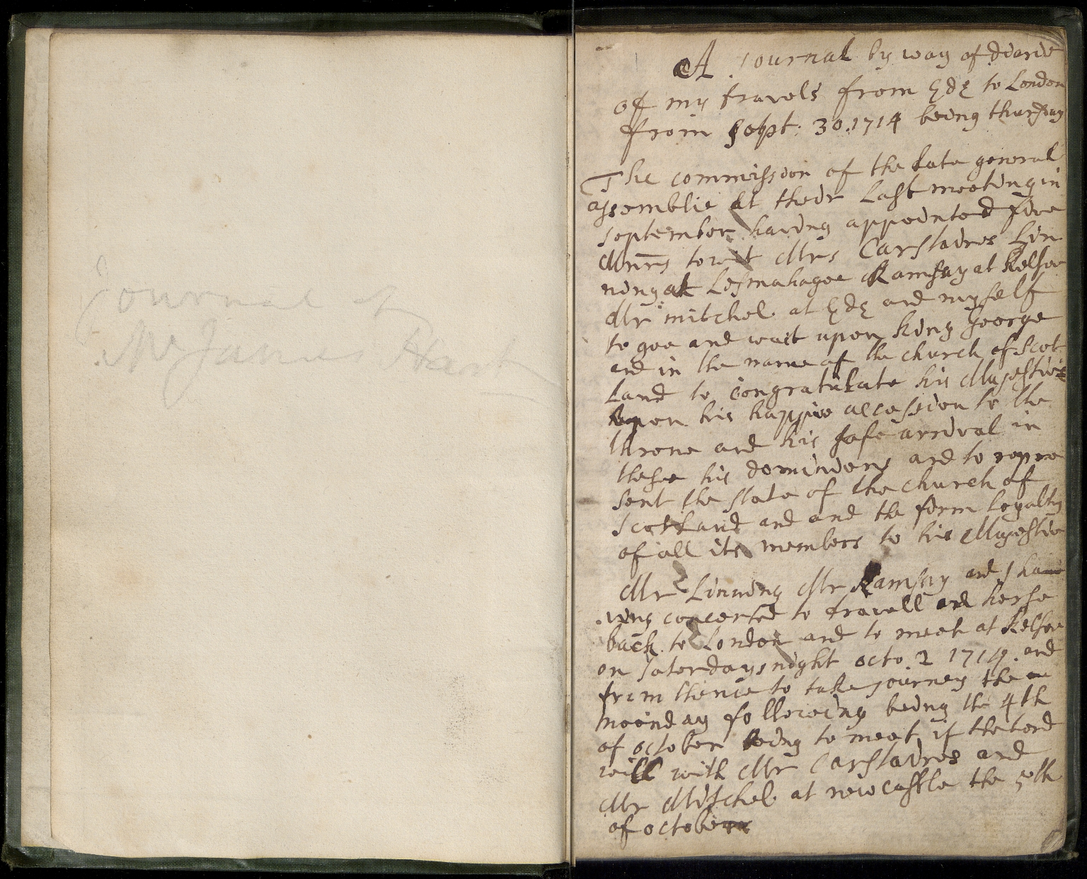 Journal of Mr James Hart, p.01
