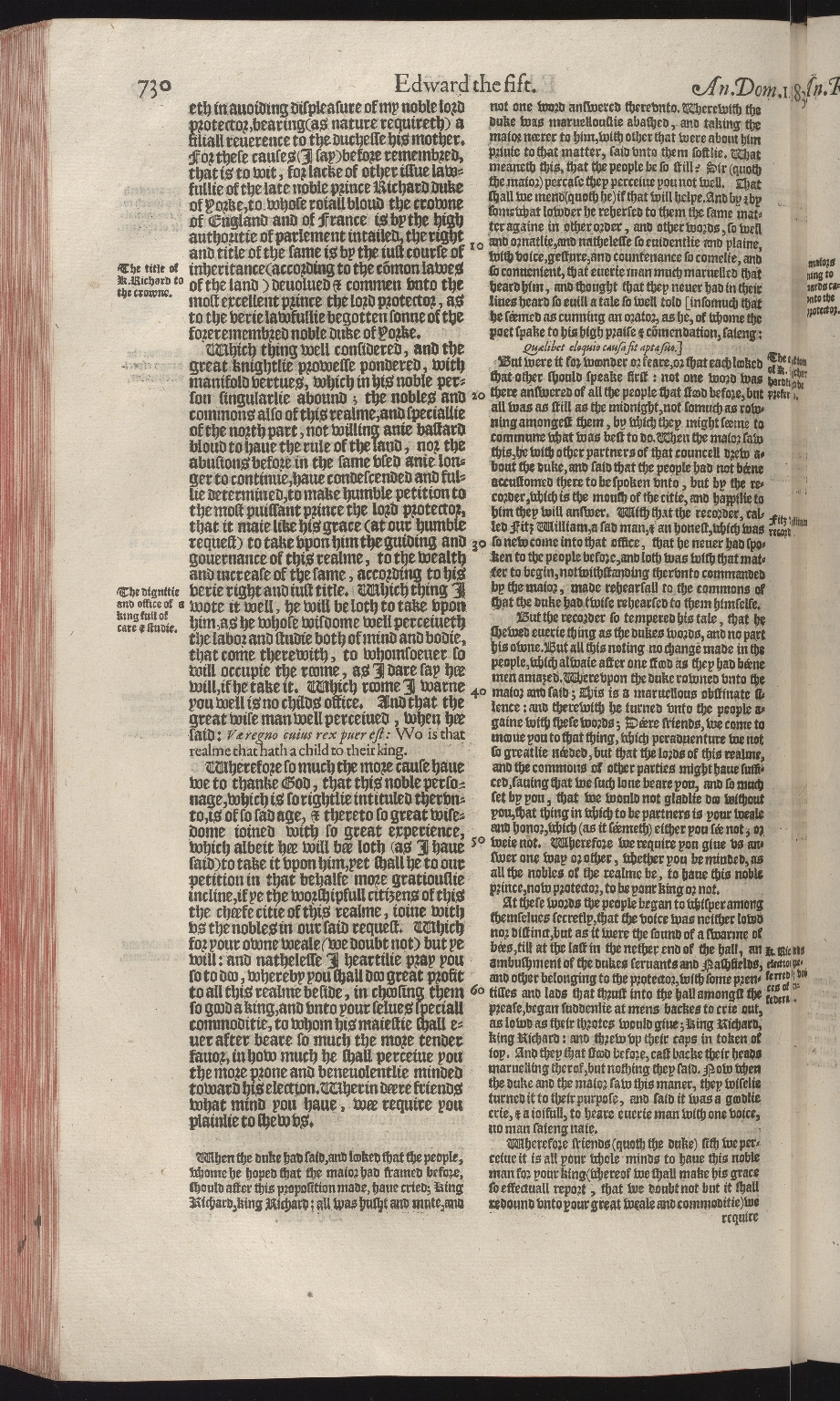 The first and second volumes of Chronicles : comprising 3. The description and historie of Scotland, p.730