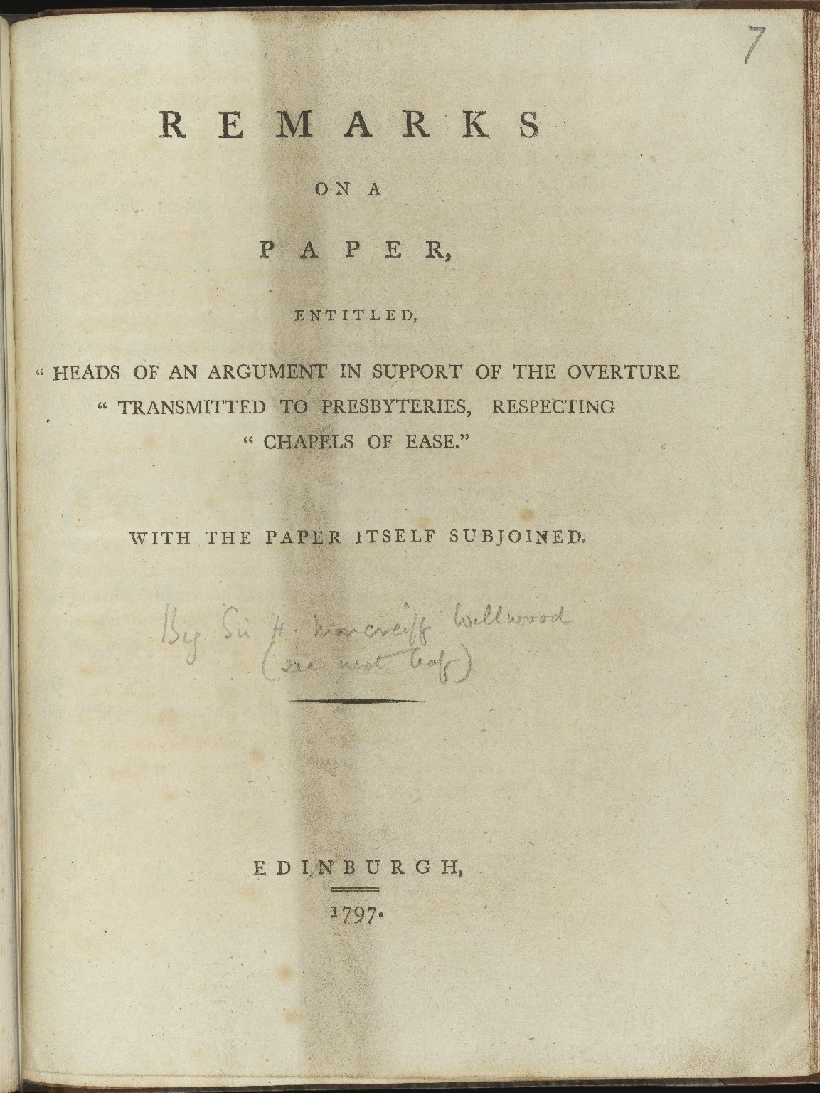 Remarks on a Paper, Entitled, â??Heads of an Argumentâ?, 1797, Pamphlet 7, title page