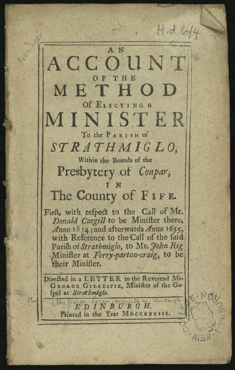 An Account of the Method of Electing a Minister to the Parish of Strathmiglo â?¦, Title page