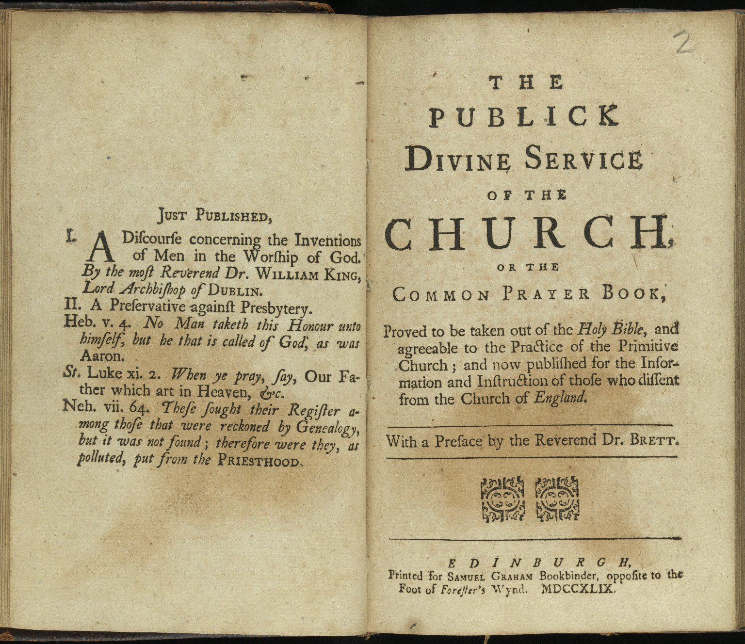 The publick divine service of the church, or, The Common prayer book, Pamphlet 2, title page