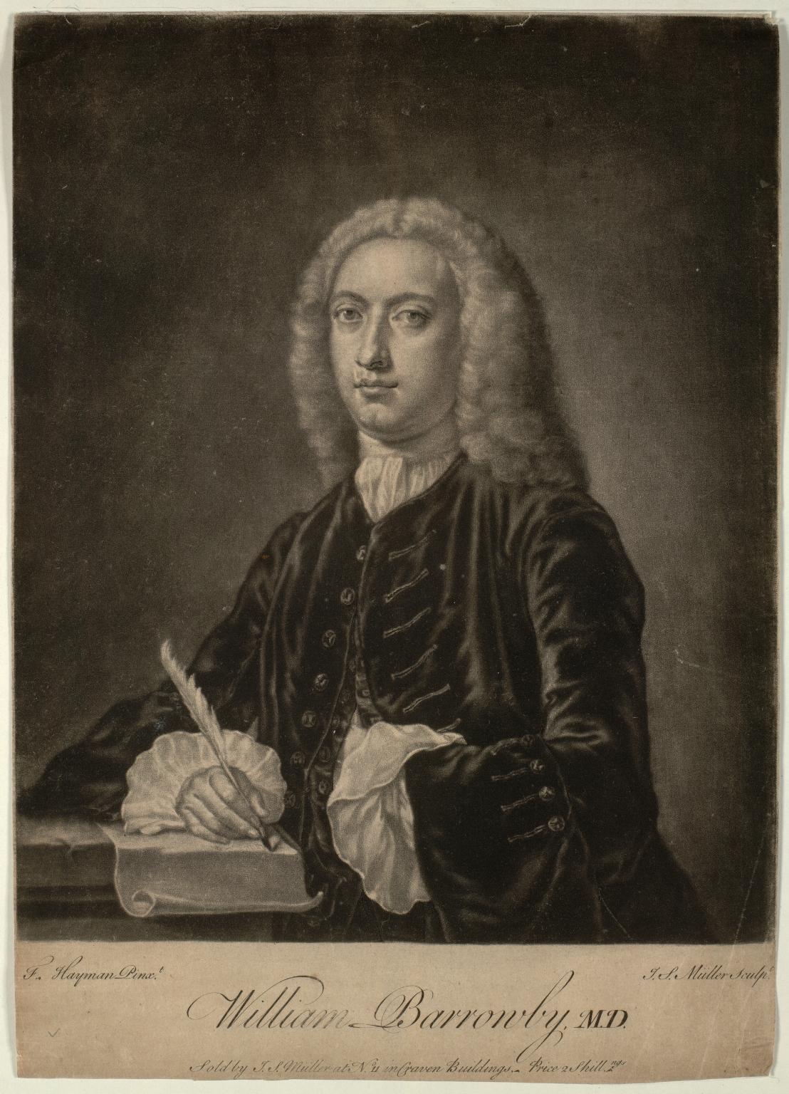 William Barrowby (1682-1751), MD, FRCP. Physician to St Bartholomew's Hospital