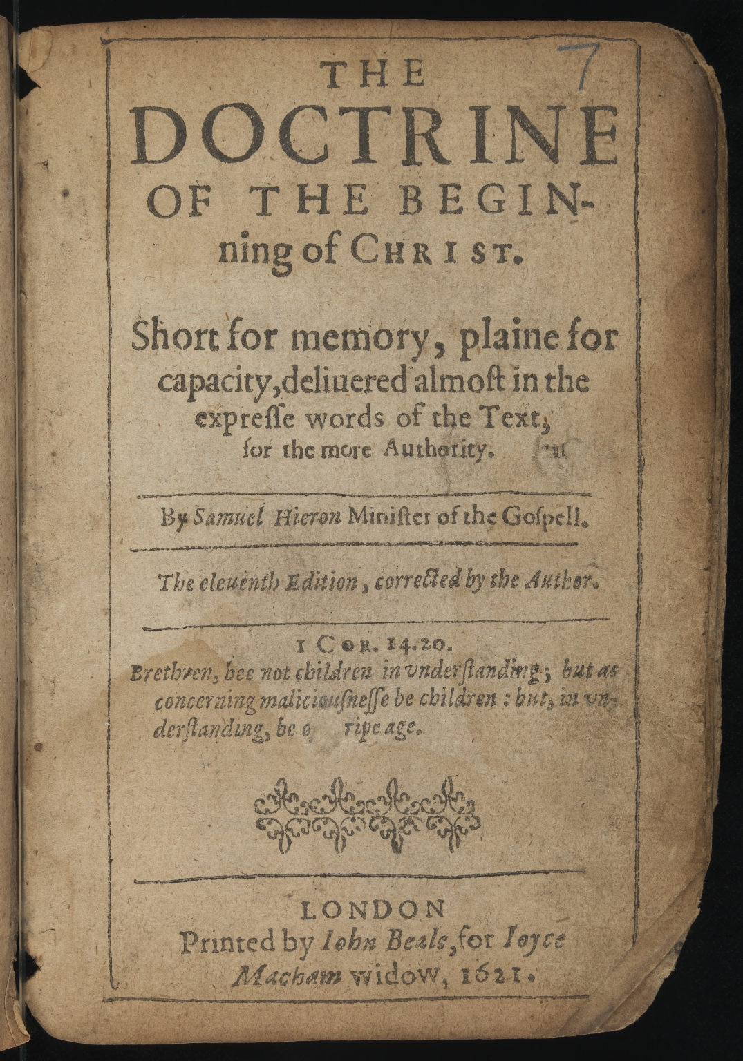 The doctrine of the beginning of Christ, Title page