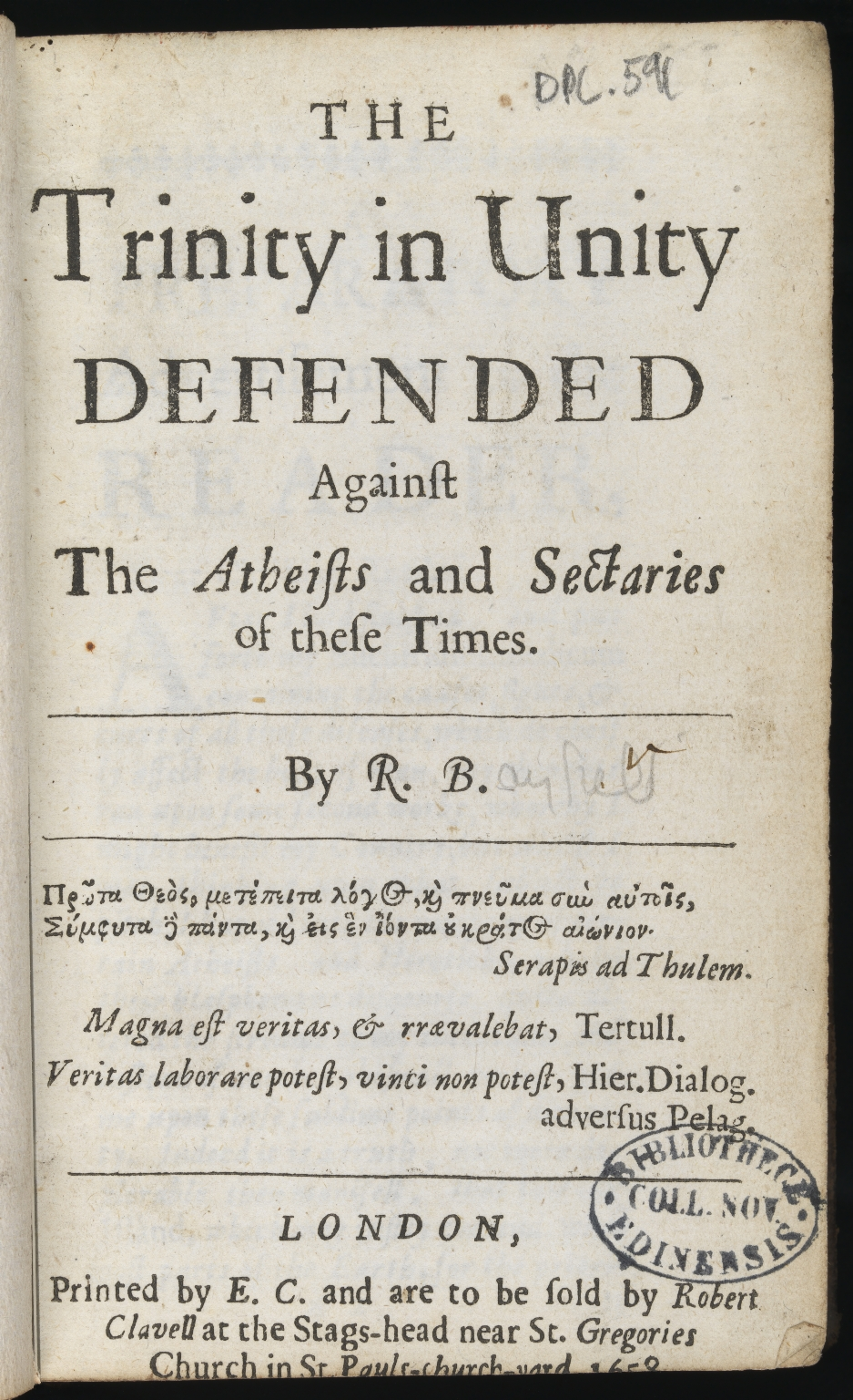 The Trinity in unity defended against the atheists and sectaries, Title page