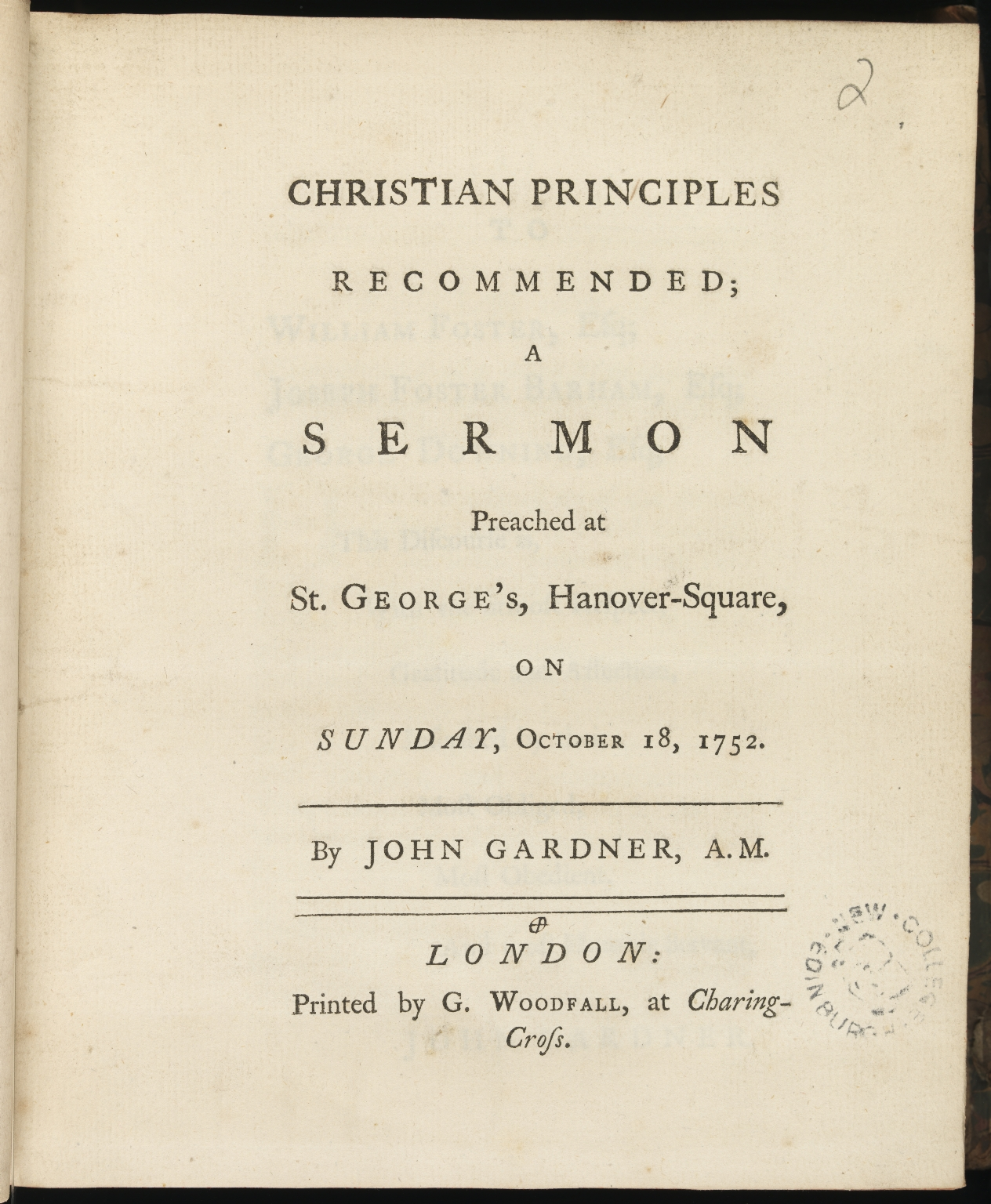 Christian principles recommended, Title page