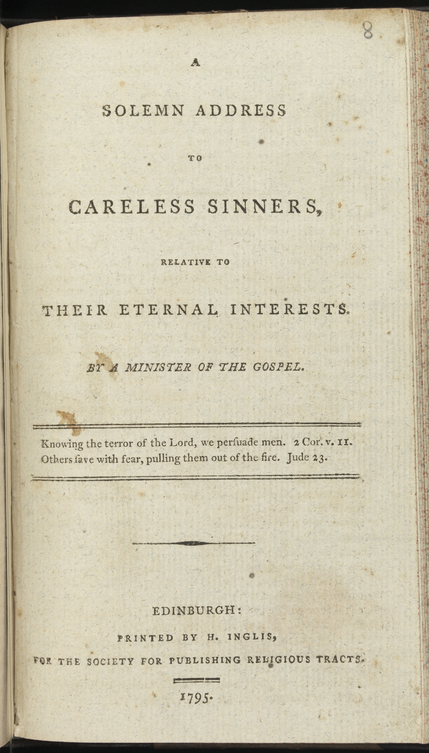 A solemn address to careless sinners, Title page