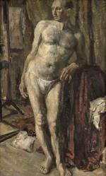 Male Nude Leaning on a Table (verso)
