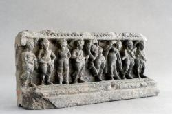 Gandharan sculpture fragments: Female dancers and musicians