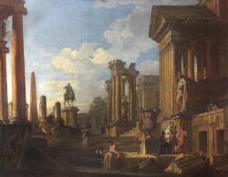 Roman Ruins and figures - statue of Marcus Aurelius