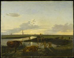 Canal Landscape with Figures Bathing (view of Zwolle)