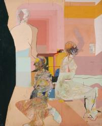 Composition with Three Figures against a Pink and Yellow Background